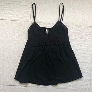 Tops - Black Crochet Cami -Size Large